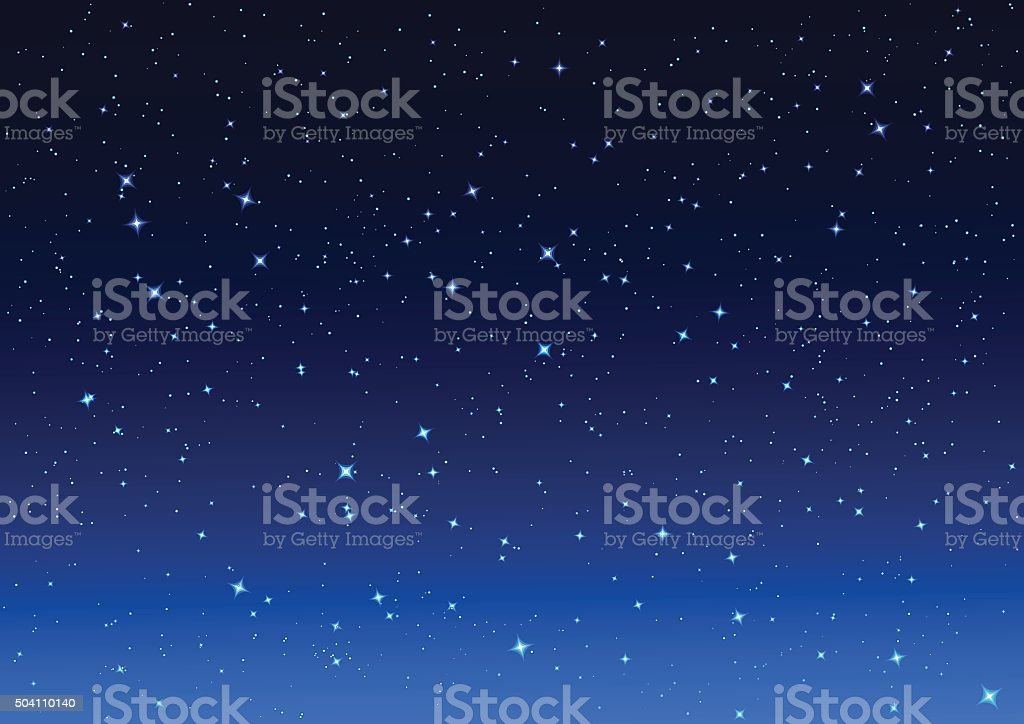 Night sky. Stars in night sky vector art illustration