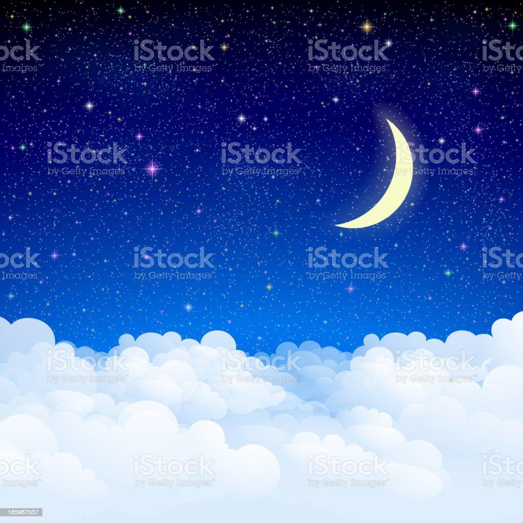 Night sky vector art illustration