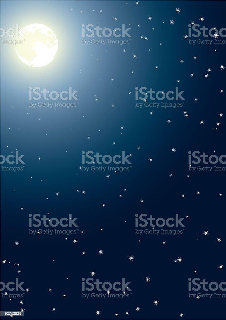 Night sky, with a full moon shining and many stars vector art illustration