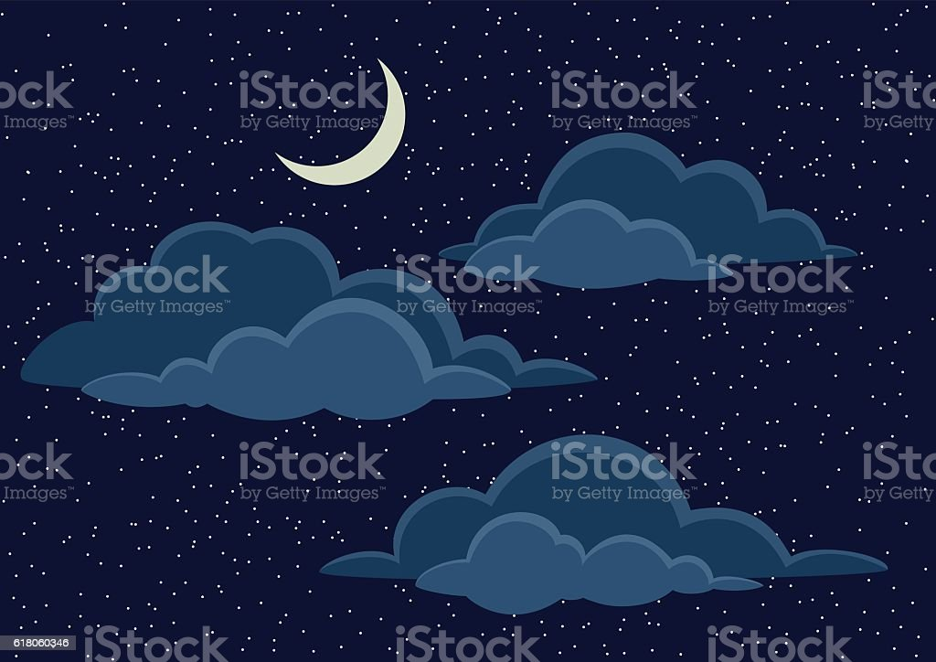 Night Sky with Clouds vector art illustration