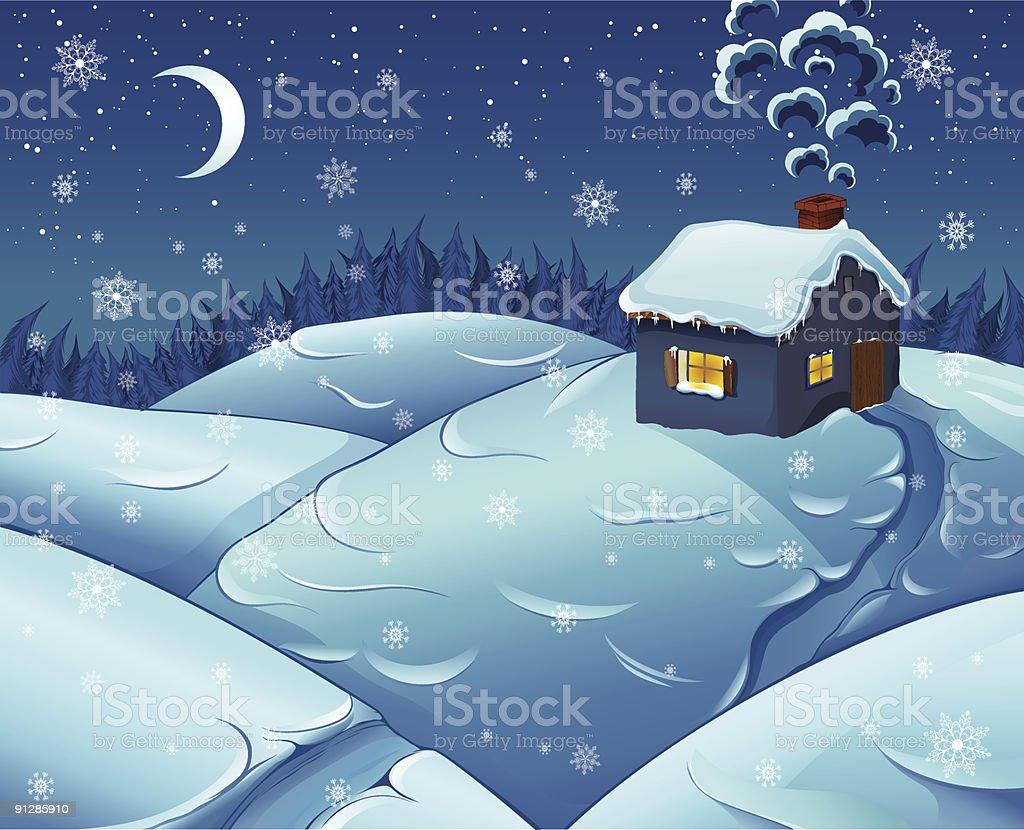 Night snowfall in wood royalty-free stock vector art
