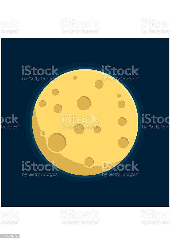 Night space astronomy and nature Moon icon. Cartoon planet satellite vector art illustration