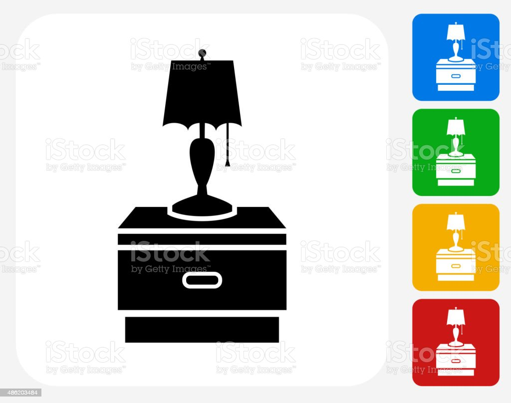 Night Stand and Lamp Icon Flat Graphic Design vector art illustration