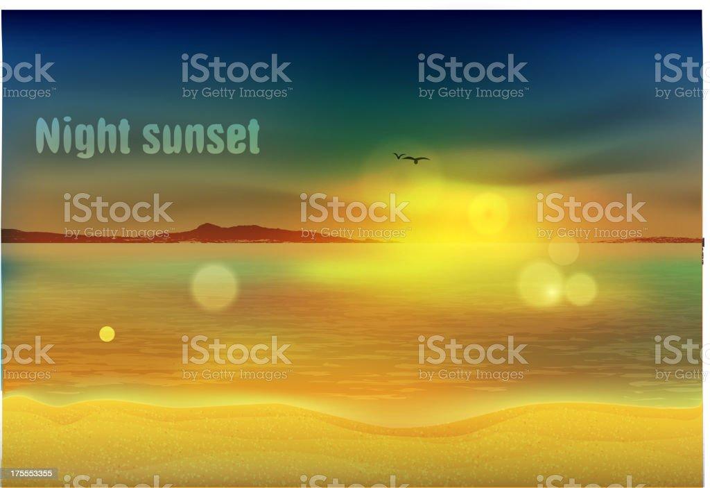 Night sunset on the sea royalty-free stock vector art