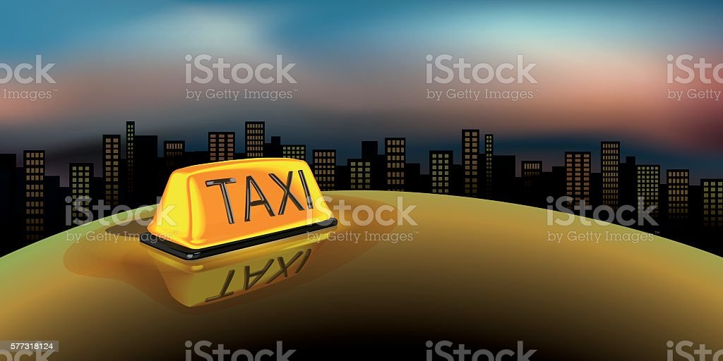 Night Taxi Sign vector art illustration