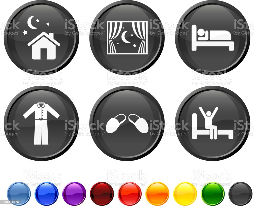 night time rest royalty free vector icon set vector art illustration