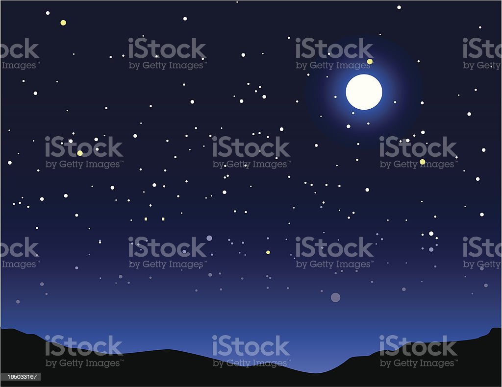 night time vector art illustration