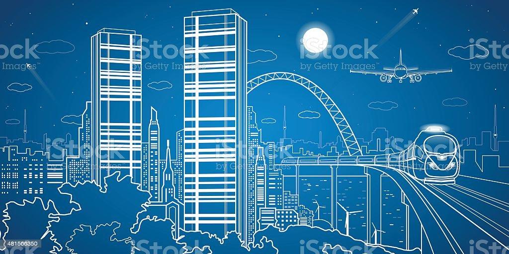 Night town, airplane fly, train on the bridge, city center vector art illustration