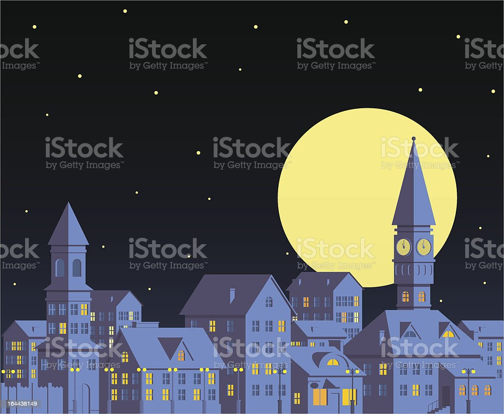 Night town vector art illustration
