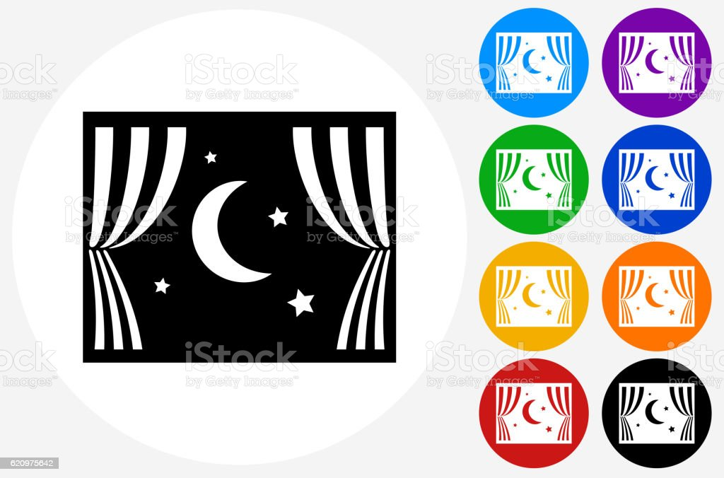 Night View Icon on Flat Color Circle Buttons vector art illustration