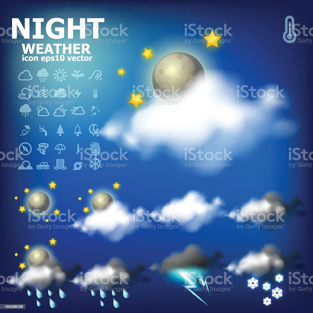 Night weather app icon royalty-free stock vector art