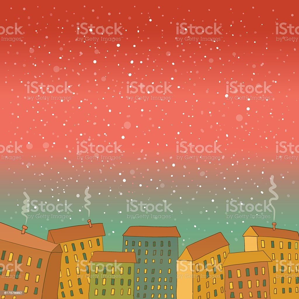 Night winter smoke city cartoon landscape background vector art illustration