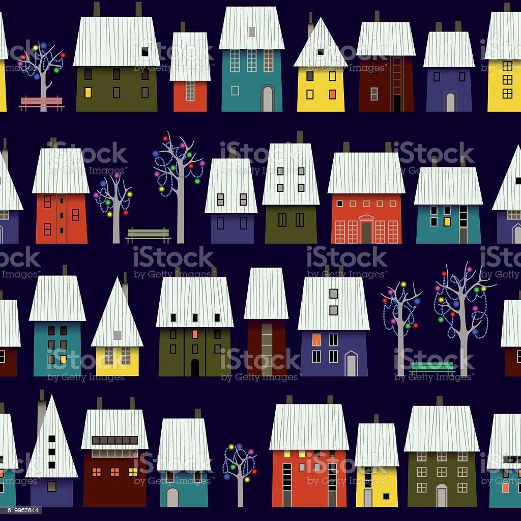 Night Winter Town Pattern. vector art illustration