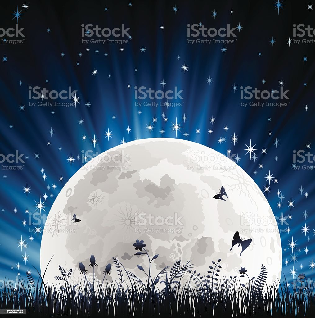 Night with Full Moon and Grass Horizon royalty-free stock vector art