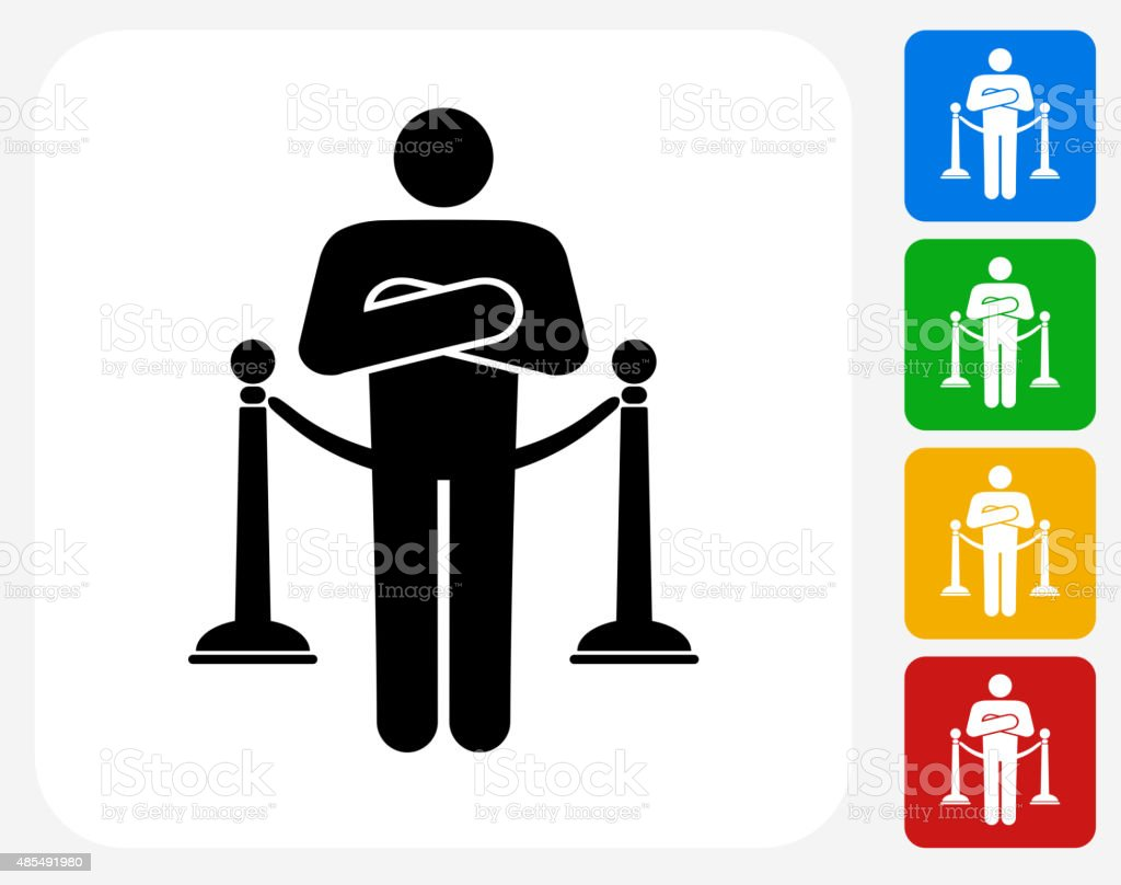 Nightclub Security Icon Flat Graphic Design vector art illustration