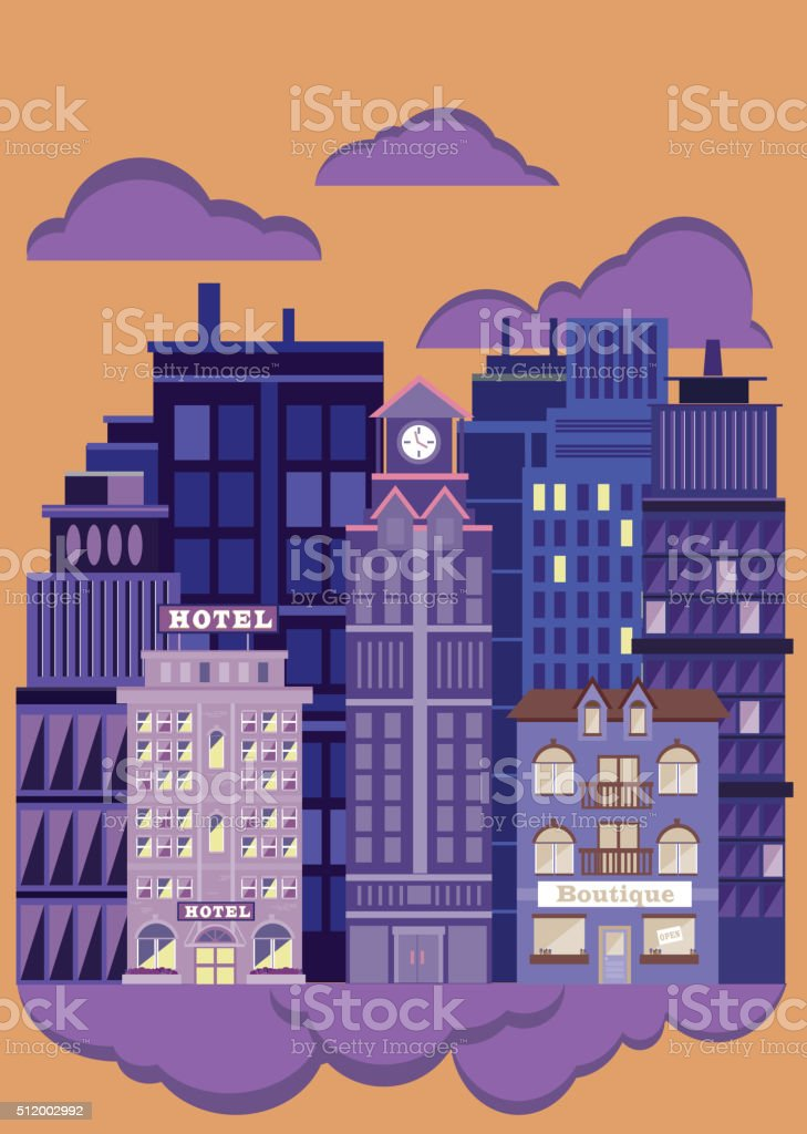 Nightlife Metropolitan Cityscape vector art illustration