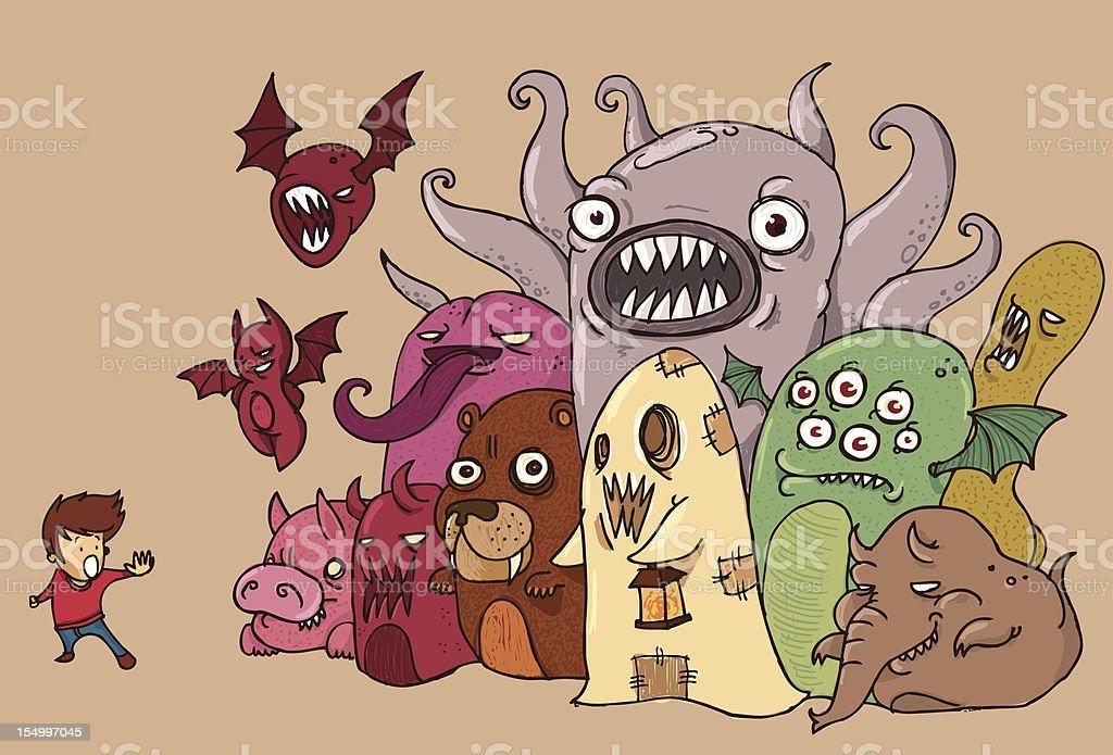 Nightmares vector art illustration