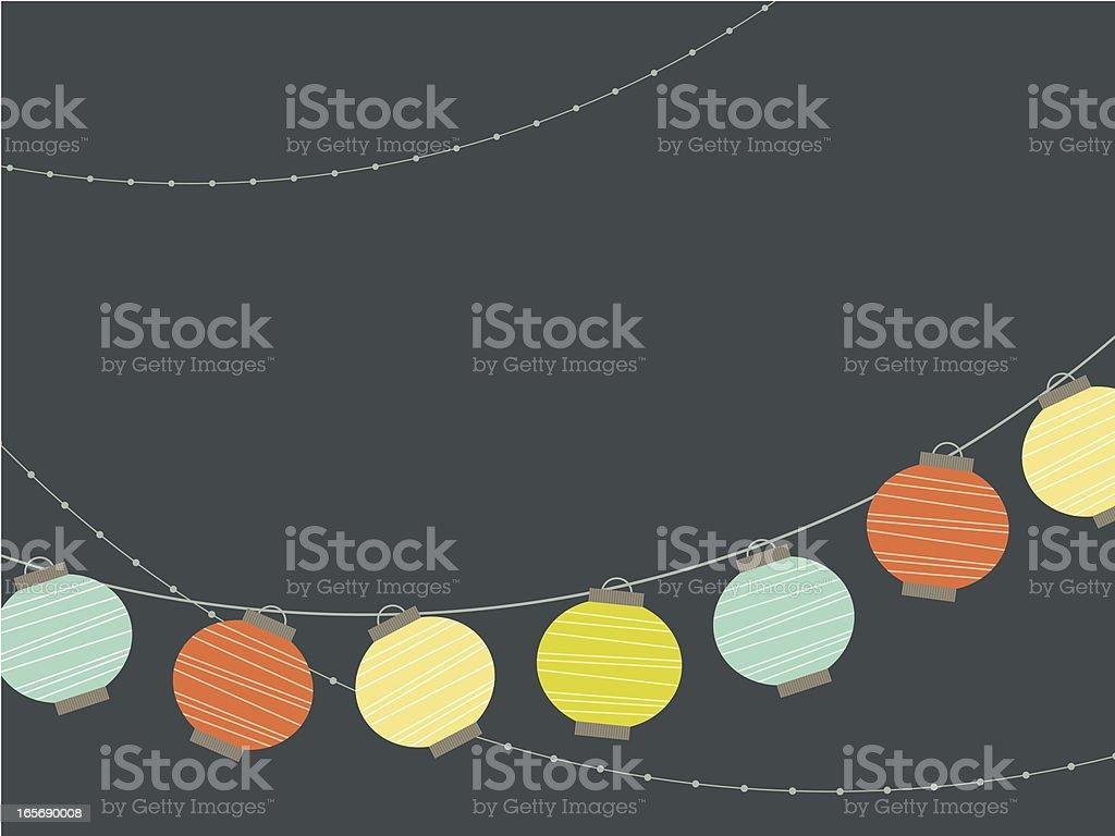 Nighttime Paper Lanterns vector art illustration