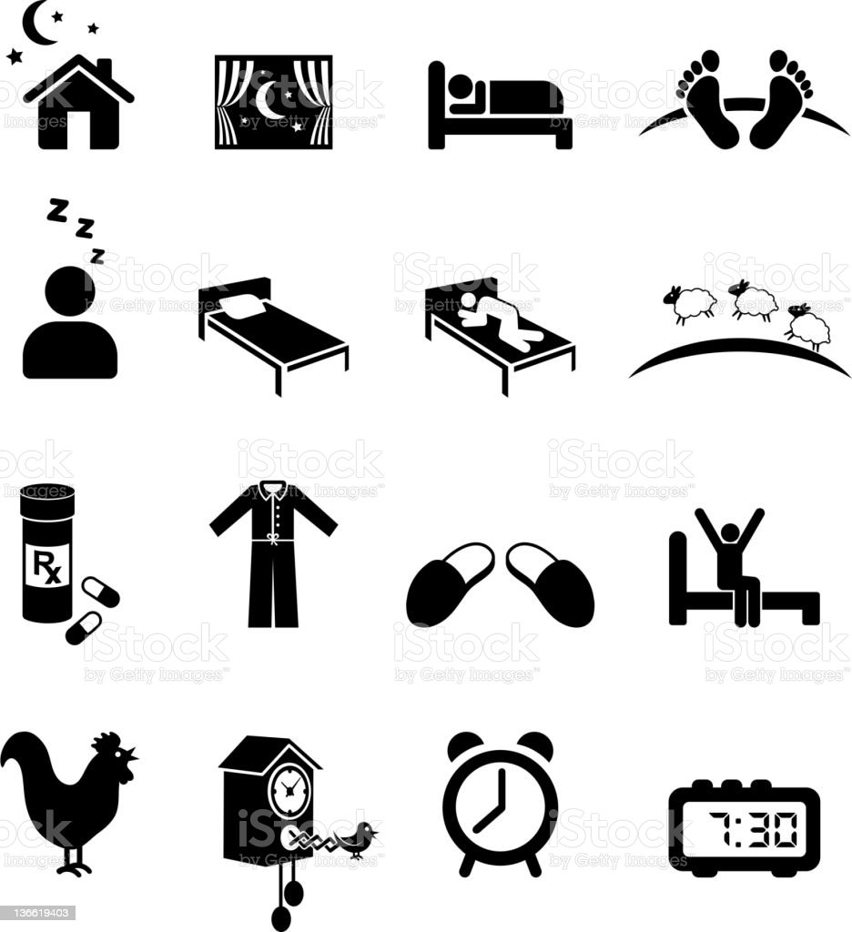 Nighttime sleep black and white royalty free vector icon set vector art illustration
