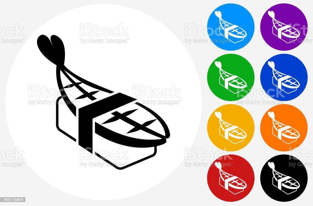 Nigiri Sushi Icon on Flat Color Circle Buttons vector art illustration