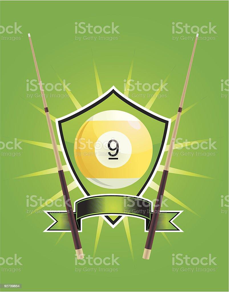 Nine Ball Crest vector art illustration