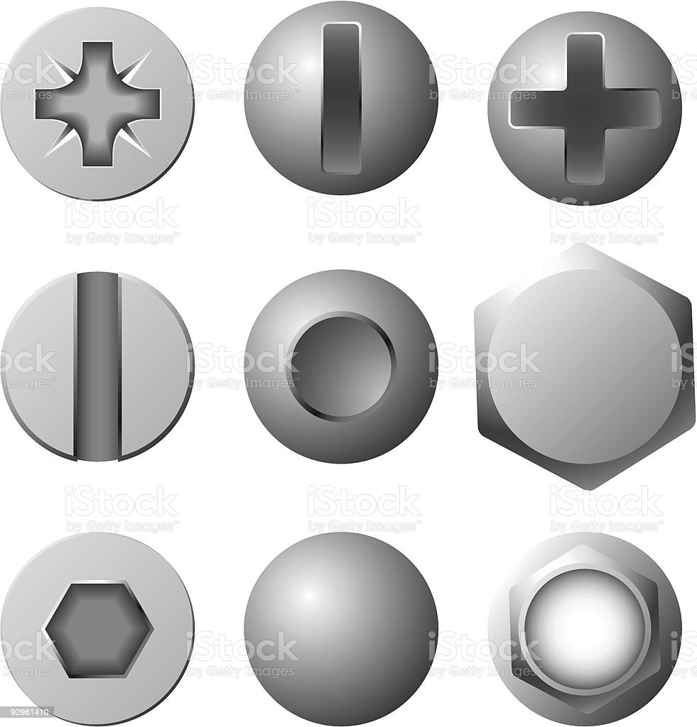 Nine black and white cartoon images of bolt heads vector art illustration
