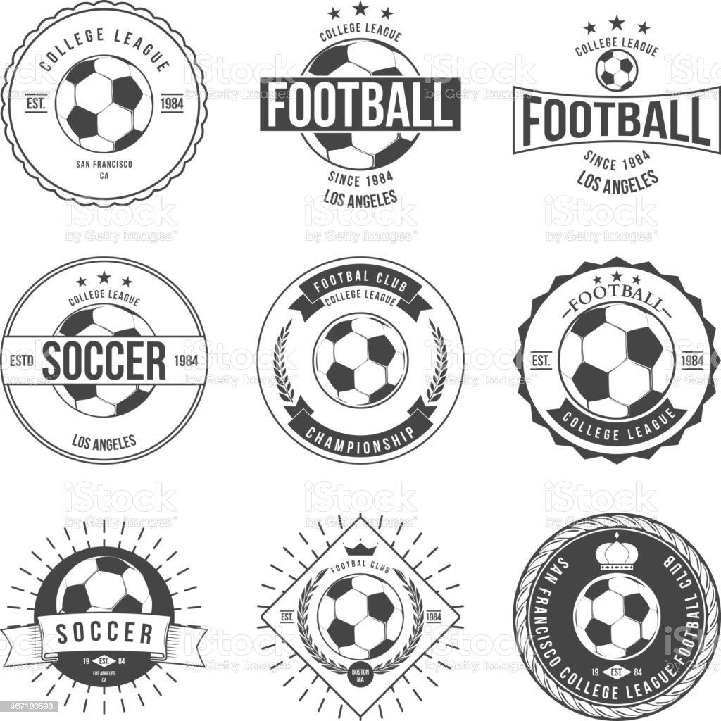 Nine black and white vintage soccer badges vector art illustration