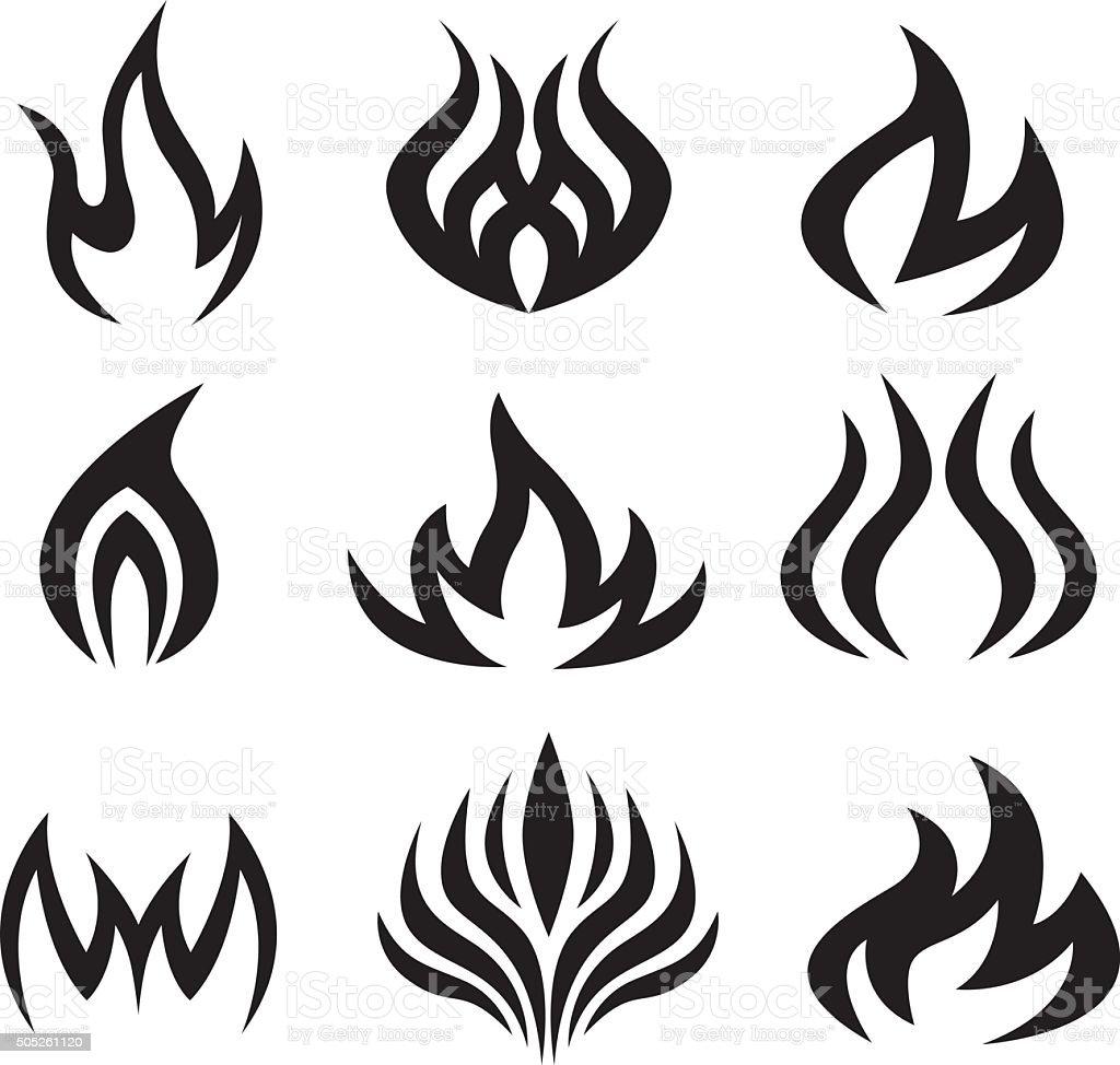 Nine Black Flame Icons vector art illustration