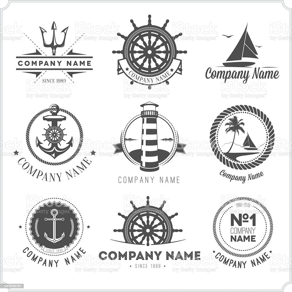 Nine black vintage nautical icons on white vector art illustration