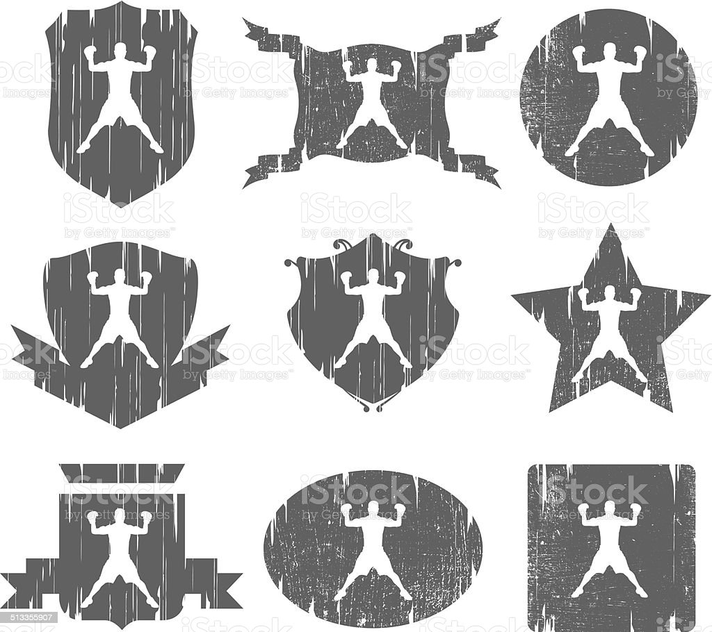 nine boxing vintage shields vector art illustration