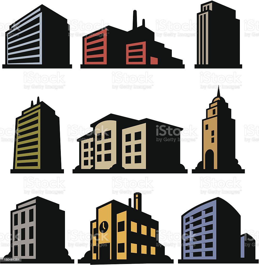 Nine Buildings vector art illustration