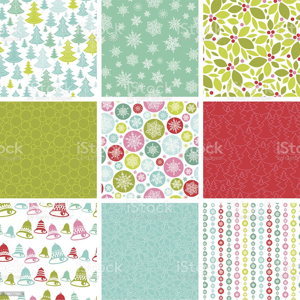 Nine Christmas Seamless Patterns Set royalty-free stock vector art