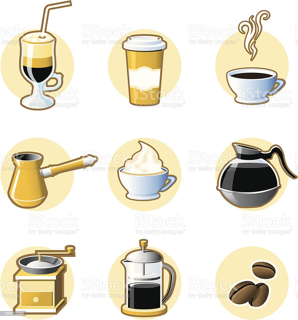 Nine coffee icons royalty-free stock vector art