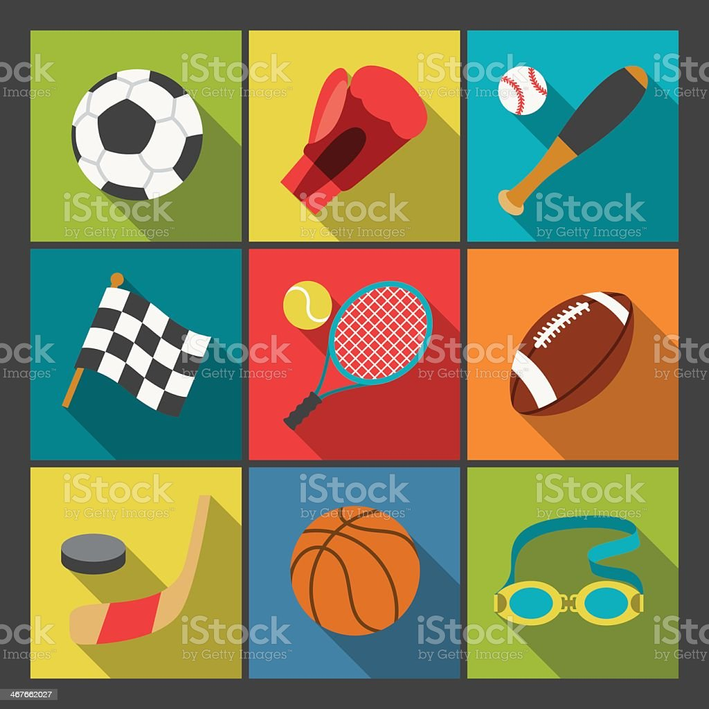 Nine color sports icons set on a tick, tad, toe, grid vector art illustration