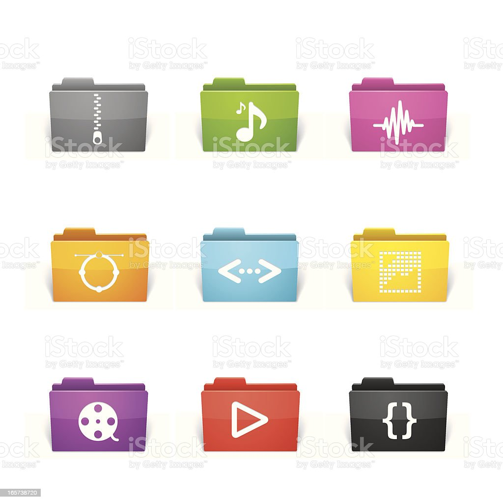 Nine colored folders with icons on the front royalty-free stock vector art