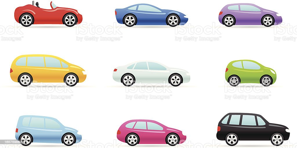 Nine colorful car selection icons in different models vector art illustration