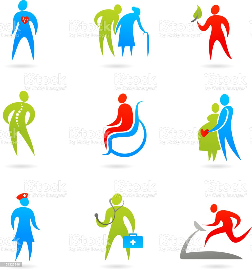 Nine colorful healthcare icons vector art illustration