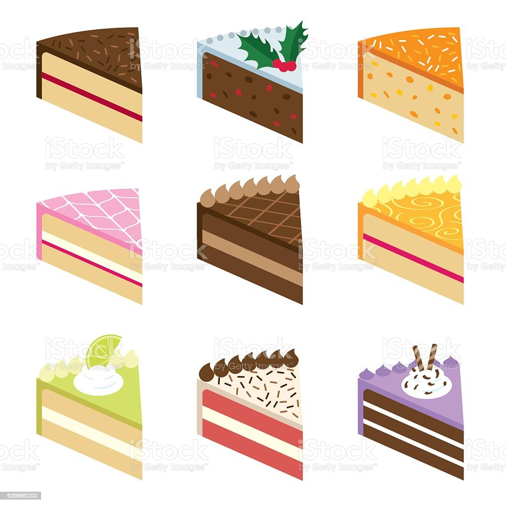 Nine delicious slices of cake. vector art illustration