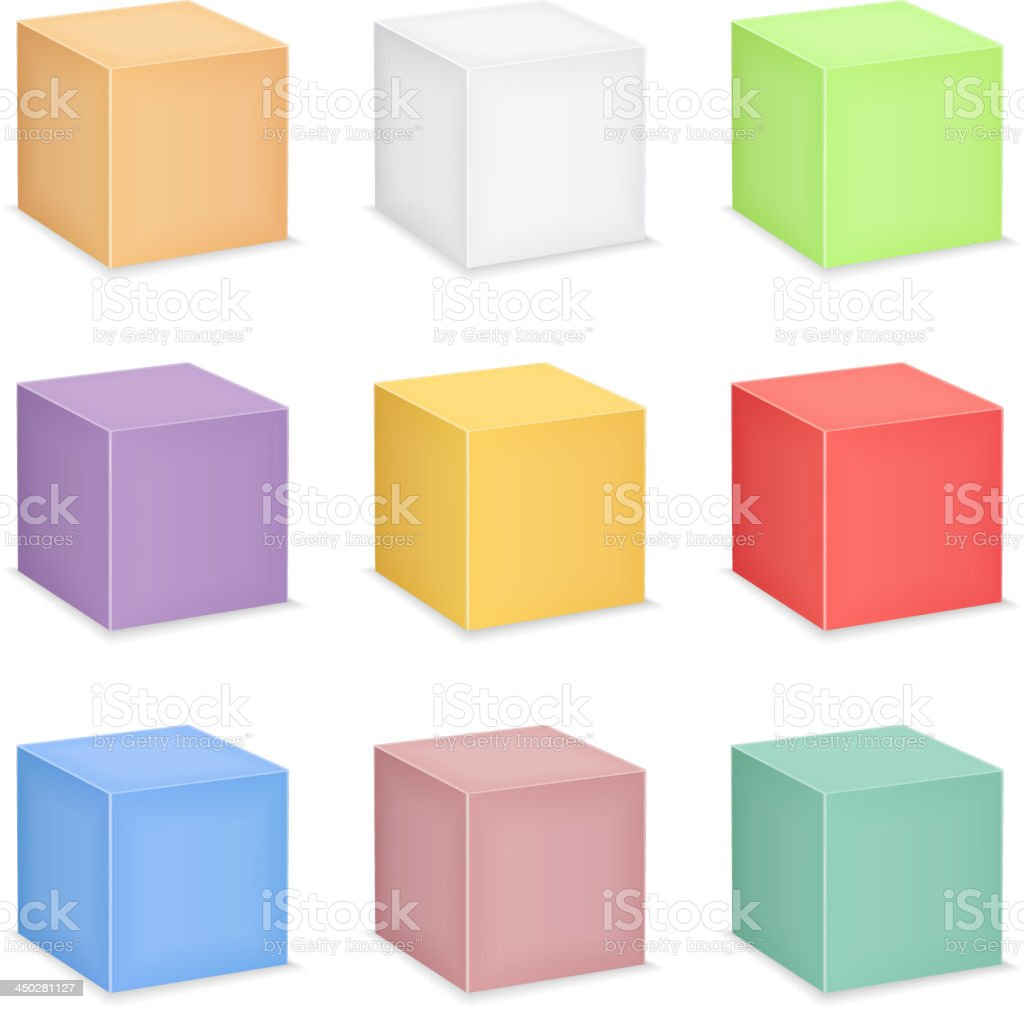 Nine different colored cubes on a white background vector art illustration