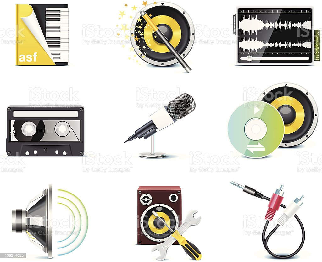 Nine different common icons for audio royalty-free stock vector art