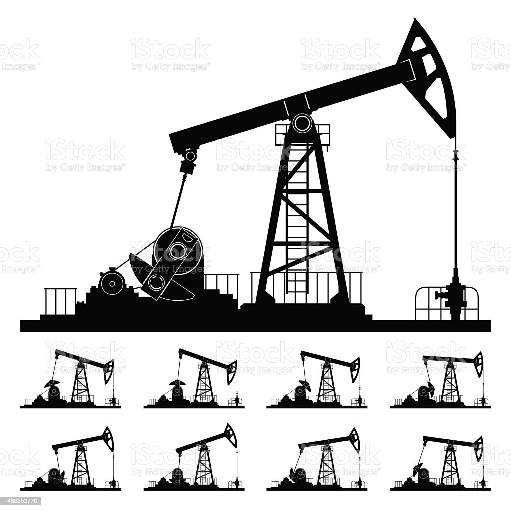 Nine Different Positions Working Oil Pumps vector art illustration