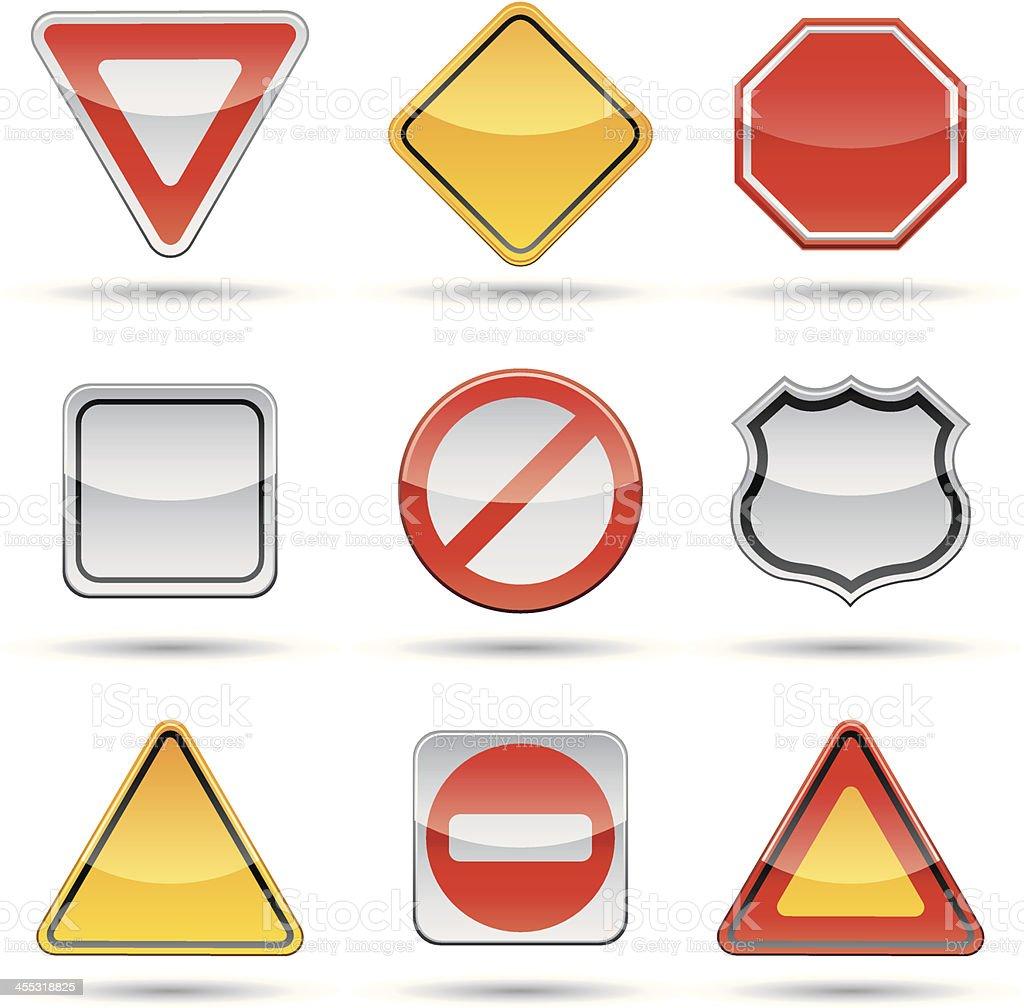 Nine different shaped blank signs vector art illustration