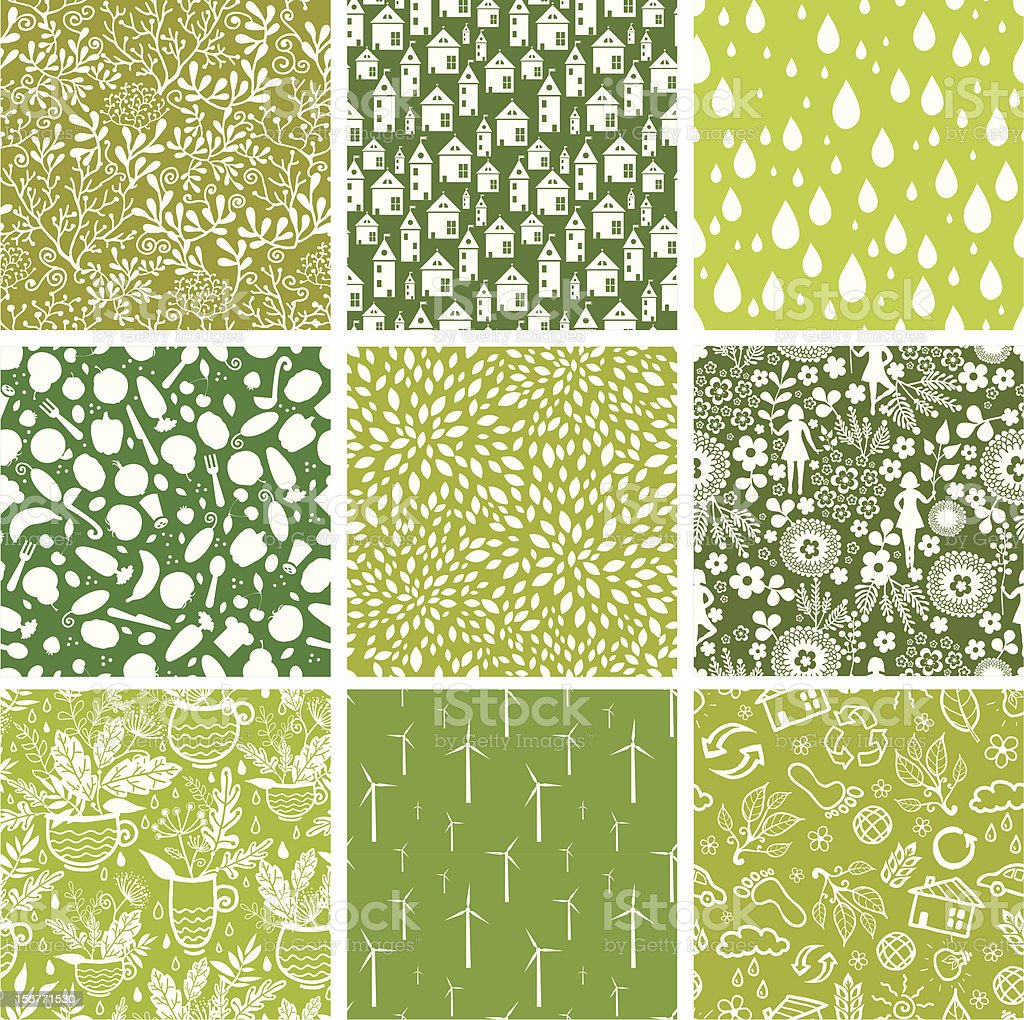 Nine Eco Nature Seamless Patterns set royalty-free stock vector art
