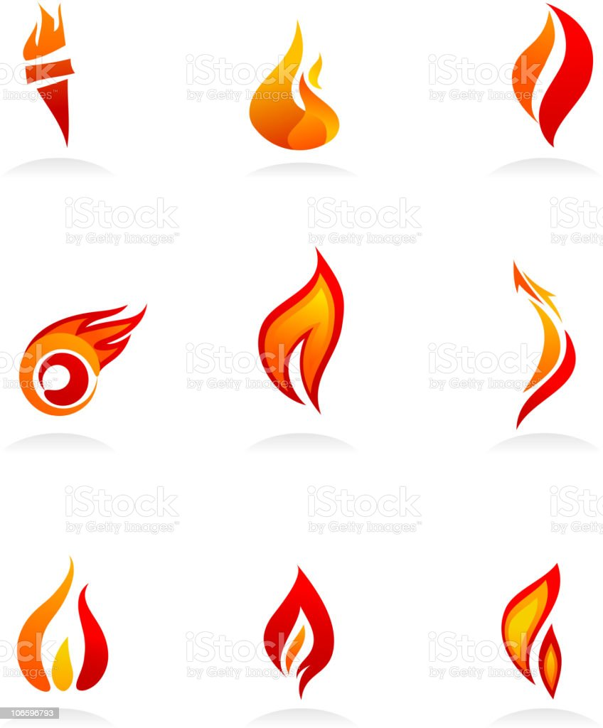 Nine fire icons with shades of red, orange, and yellow vector art illustration