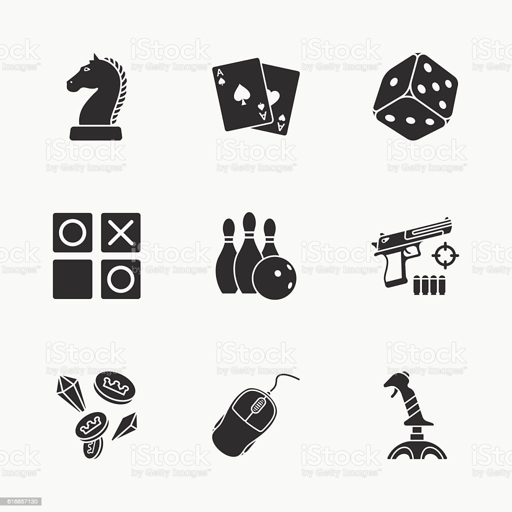 nine flat game icons vector art illustration