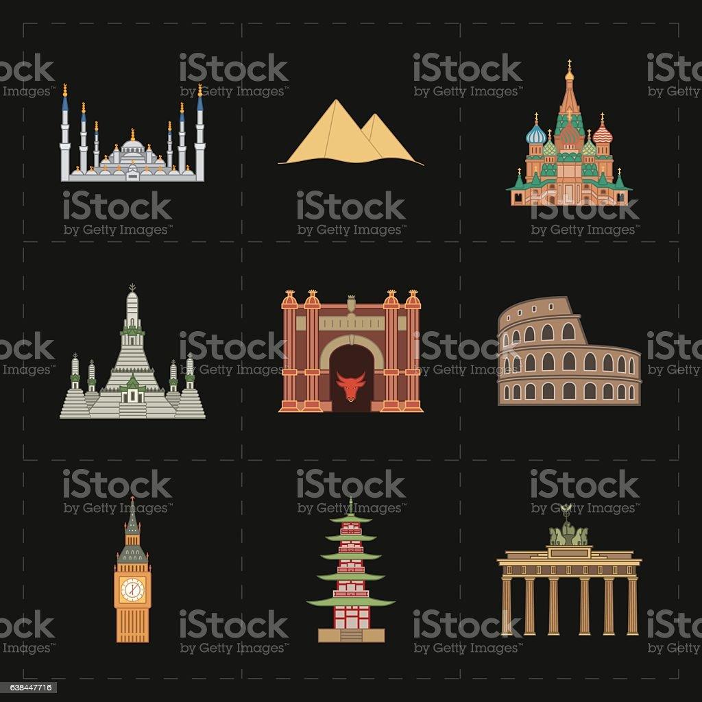 nine flat landmark icons vector art illustration