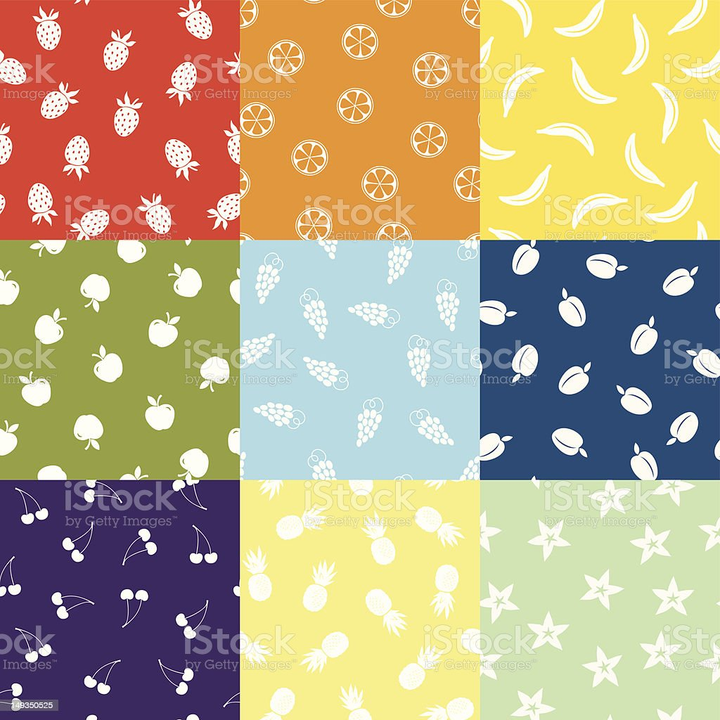 Nine Fruit Patterns royalty-free stock vector art
