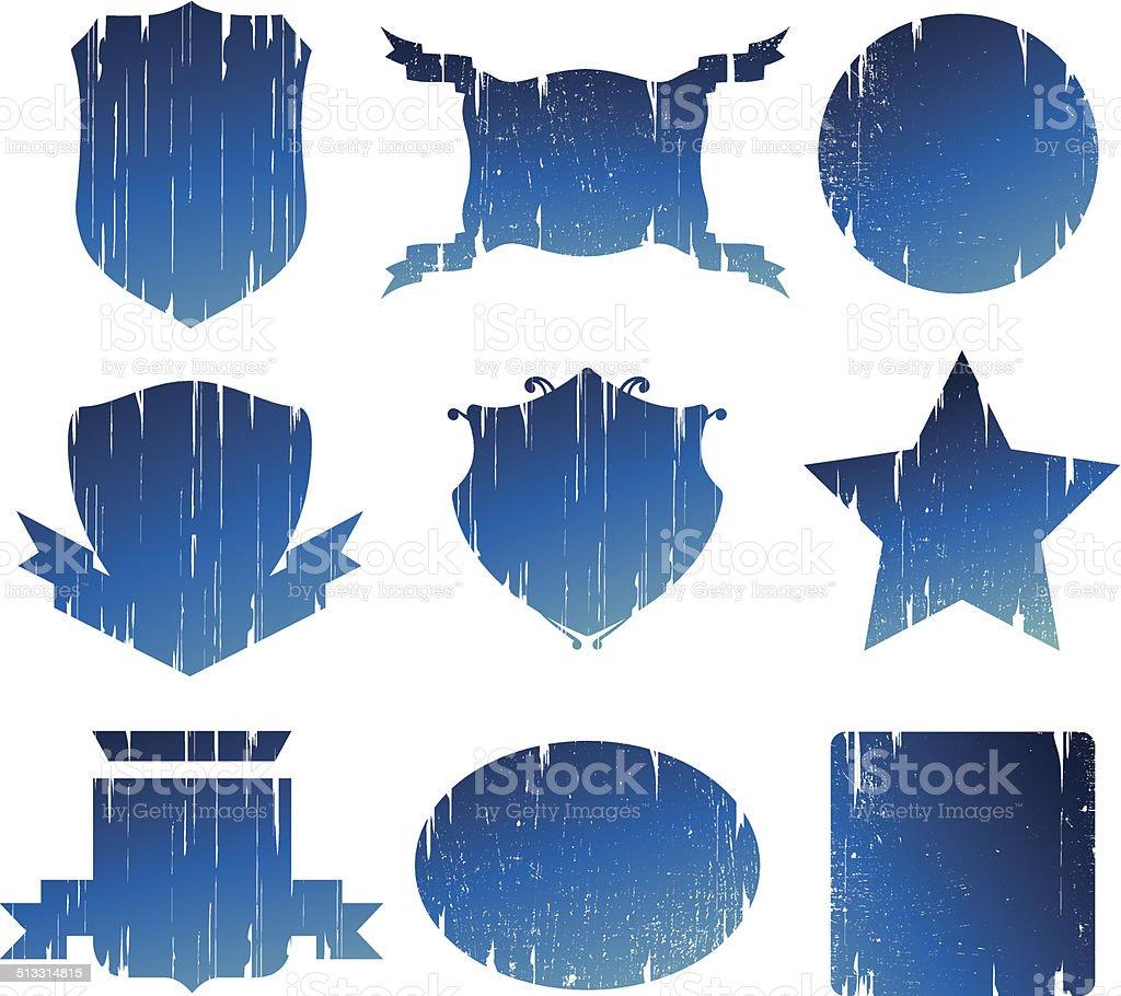 nine grunge vintage shields vector art illustration