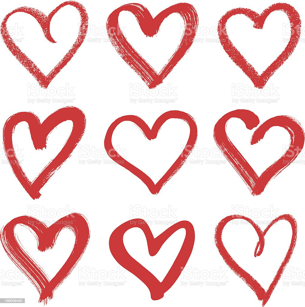 Nine hand drawn red hearts with different thicknesses vector art illustration