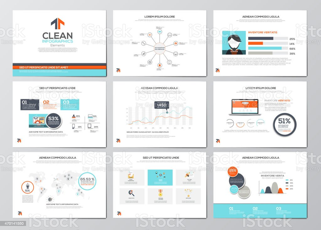 Nine illustrated business infographic cards for brochures vector art illustration